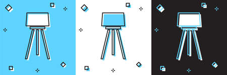 Set Floor lamp icon isolated on blue and white, black background. Vector