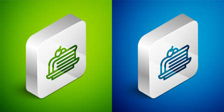 Isometric line Piece of cake icon isolated on green and blue background. Happy Birthday. Silver square button. Vector