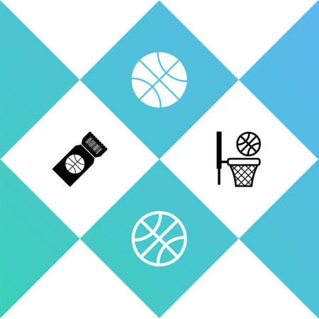 Set Basketball game ticket, and and basket icon. Vector