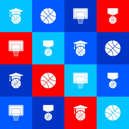 Set Basketball training,   backboard and medal icon. Vector