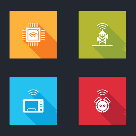 Set Processor with microcircuits CPU, Wireless antenna, Smart microwave oven and Robot vacuum cleaner icon. Vector