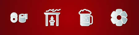Set Toilet paper roll, Aroma candle, Wooden beer mug and Flower icon. Vector