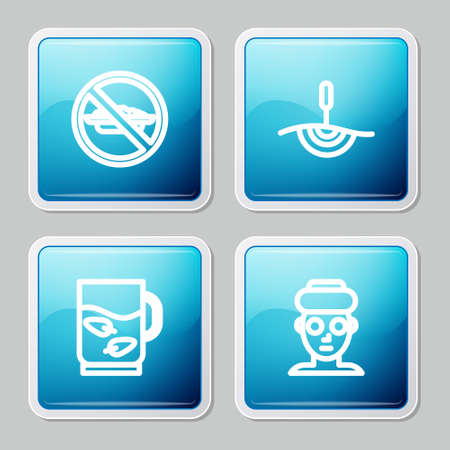 Set line Food no diet, Acupuncture therapy, Cup of tea and leaf and Facial cosmetic mask icon. Vector