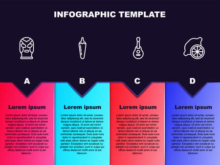 Set line Mexican wrestler, Hot chili pepper pod, guitar and Lemon. Business infographic template. Vector Illustration