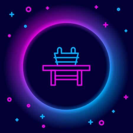 Glowing neon line Sauna bench with bucket icon isolated on black background. Colorful outline concept. Vector