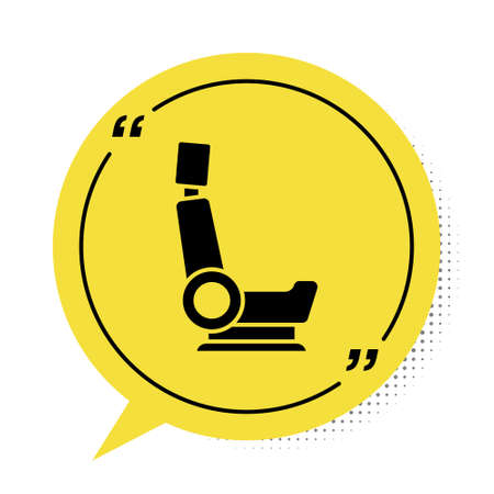 Black Car seat icon isolated on white background. Car armchair. Yellow speech bubble symbol. Vector Illustration
