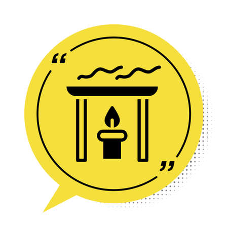 Black Aroma candle icon isolated on white background. Yellow speech bubble symbol. Vector