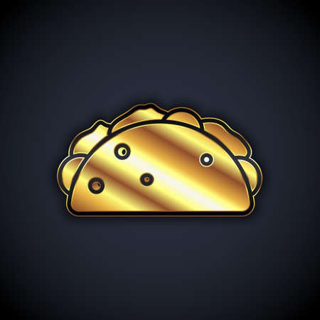 Gold Taco with tortilla icon isolated on black background. Traditional mexican fast food menu. Vector