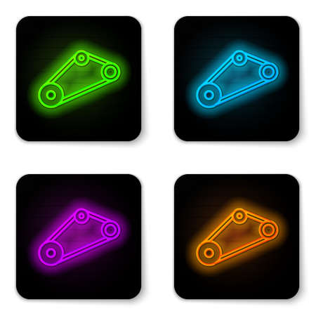 Glowing neon line Timing belt kit icon isolated on white background. Black square button. Vector
