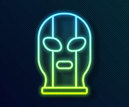 Glowing neon line Mexican wrestler icon isolated on black background. Vector Illustration