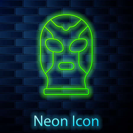 Glowing neon line Mexican wrestler icon isolated on brick wall background. Vector Illustration