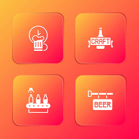 Set Happy hour, Beer bottle, Conveyor band, beer and Street signboard with icon. Vector