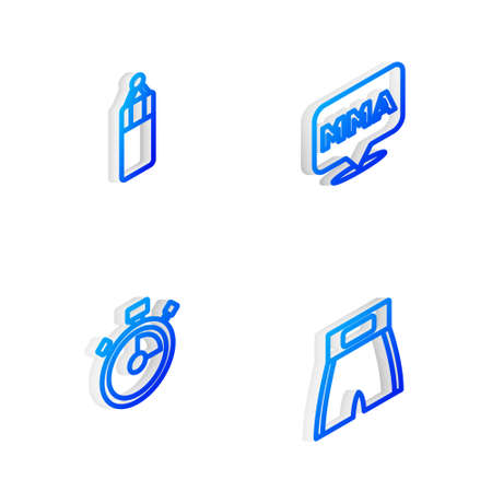 Set Isometric line Fight club MMA, Punching bag, Stopwatch and Boxing short icon. Vector