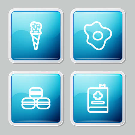 Set line Ice cream in waffle cone, Scrambled eggs, Macaron cookie and Cookbook icon. Vector