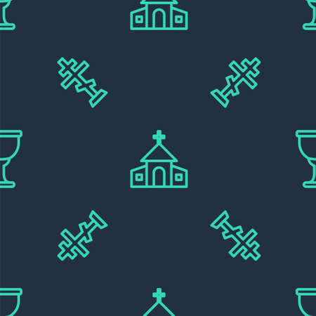 Set line Church building, Christian cross and Holy grail or chalice on seamless pattern. Vector