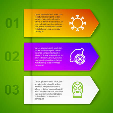 Set line Sun, Lemon and Mexican wrestler. Business infographic template. Vector