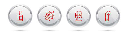 Set line Tequila bottle, Hot chili pepper pod, Mexican wrestler and glass with lemon. Silver circle button. Vector