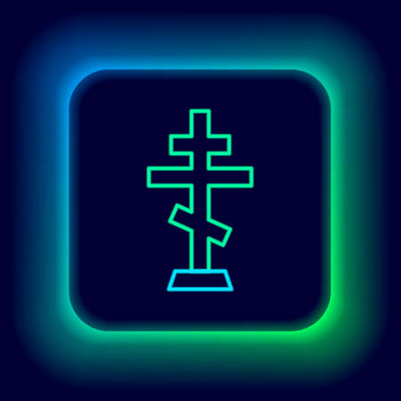 Glowing neon line Christian cross icon isolated on black background. Church cross. Colorful outline concept. Vector