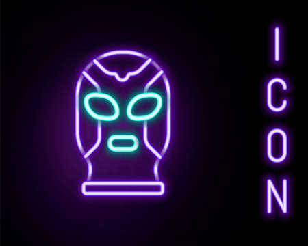 Glowing neon line Mexican wrestler icon isolated on black background. Colorful outline concept. Vector