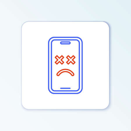 Line Dead mobile icon isolated on white background. Deceased digital device emoji symbol. Corpse smartphone showing facial emotion. Colorful outline concept. Vector Vector Illustration