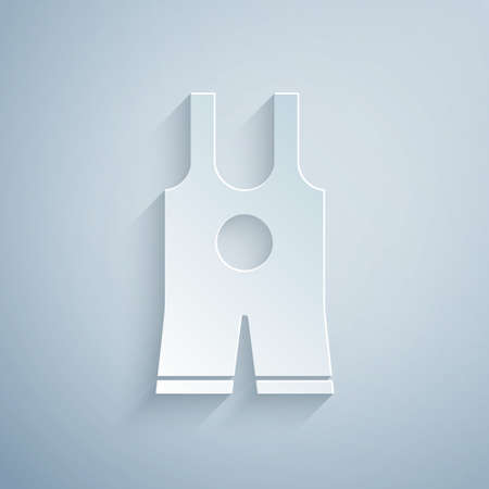 Paper cut Wrestling singlet icon isolated on grey background. Wrestling tricot. Paper art style. Vector