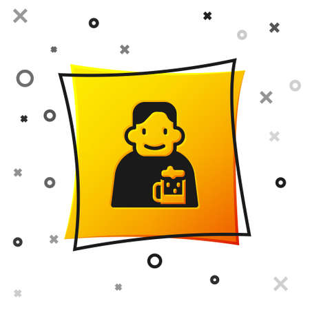 Black Happy man with beer icon isolated on white background. Yellow square button. Vector