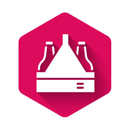 White Pack of beer bottles icon isolated with long shadow background. Case crate beer box sign. Pink hexagon button. Vector