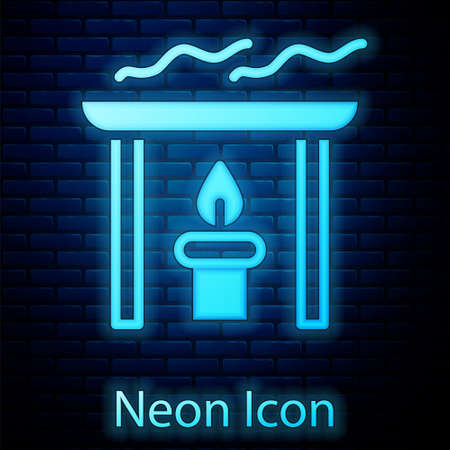 Glowing neon Aroma candle icon isolated on brick wall background. Vector