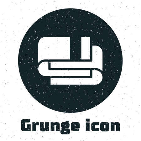 Grunge Towel stack icon isolated on white background. Monochrome vintage drawing. Vector Иллюстрация