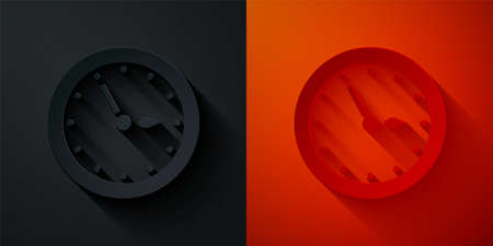 Paper cut Sauna clock icon isolated on black and red background. Sauna timer. Paper art style. Vector