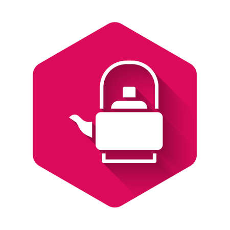 White Kettle with handle icon isolated with long shadow background. Teapot icon. Pink hexagon button. Vector Иллюстрация