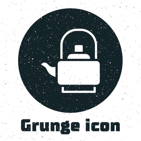 Grunge Kettle with handle icon isolated on white background. Teapot icon. Monochrome vintage drawing. Vector
