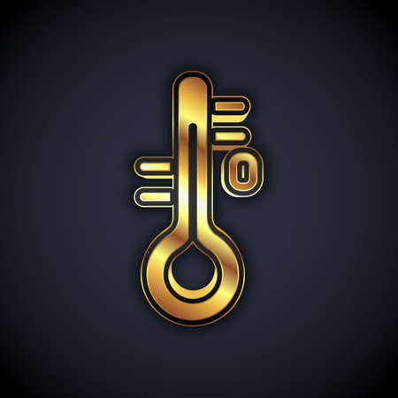 Gold Sauna thermometer icon isolated on black background. Sauna and bath equipment. Vector