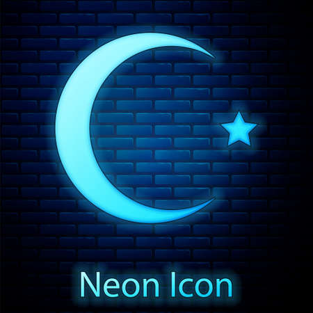 Glowing neon Star and crescent - symbol of Islam icon isolated on brick wall background. Religion symbol. Vector Иллюстрация