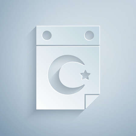 Paper cut Star and crescent - symbol of Islam icon isolated on grey background. Religion symbol. Paper art style. Vector