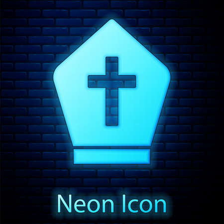 Glowing neon Pope hat icon isolated on brick wall background. Christian hat sign. Vector Иллюстрация