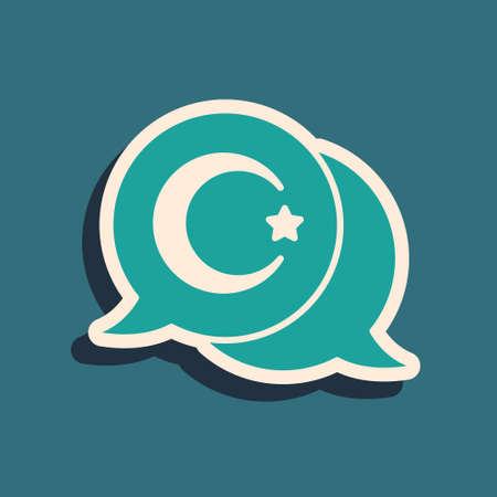 Green Star and crescent - symbol of Islam icon isolated on green background. Religion symbol. Long shadow style. Vector