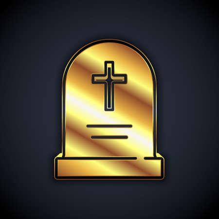 Gold Tombstone with cross icon isolated on black background. Grave icon. Happy Halloween party. Vector