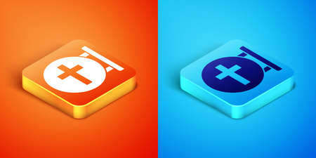 Isometric Christian cross icon isolated on orange and blue background. Church cross. Vector