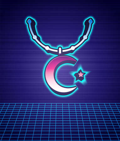 Retro style Star and crescent on chain - symbol of Islam icon isolated futuristic landscape background. Religion symbol. 80s fashion party. Vector