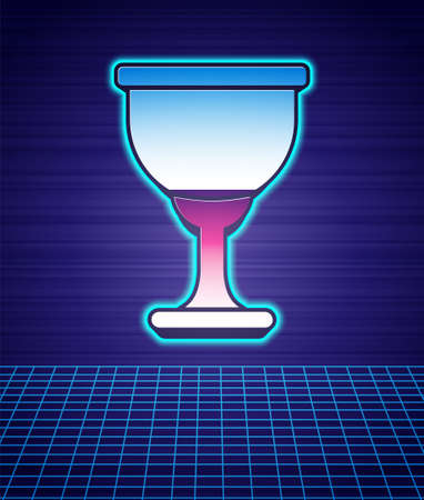 Retro style Holy grail or chalice icon isolated futuristic landscape background. Christian chalice. Christianity icon. 80s fashion party. Vector Иллюстрация