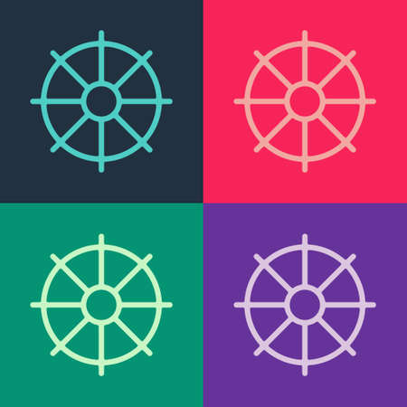 Pop art Dharma wheel icon isolated on color background. Buddhism religion sign. Dharmachakra symbol. Vector Иллюстрация