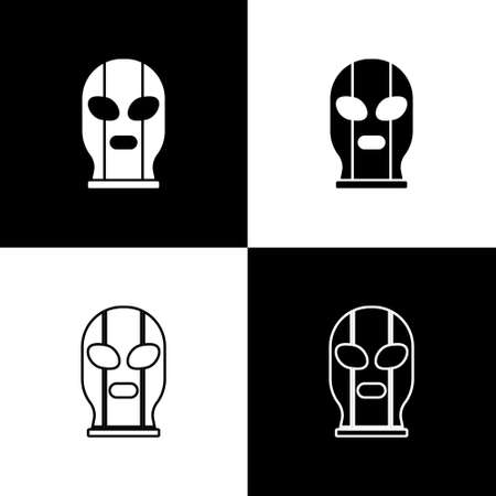 Set Mexican wrestler icon isolated on black and white background. Vector Illustration