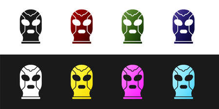 Set Mexican wrestler icon isolated on black and white background. Vector Stock Illustratie