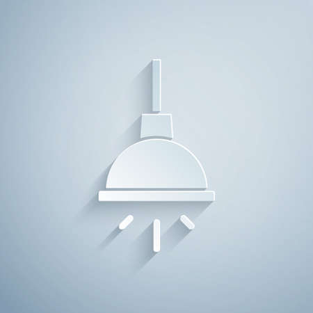 Paper cut Lamp icon isolated on grey background. Paper art style. Vector