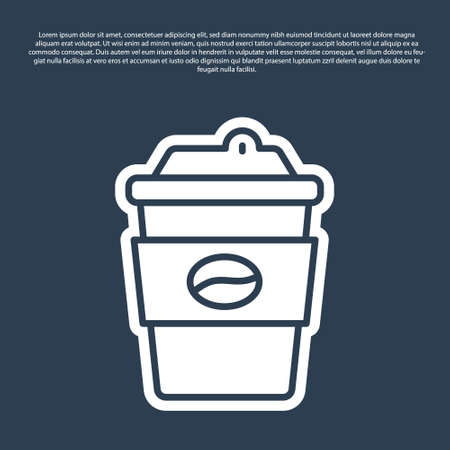 Blue line Coffee cup to go icon isolated on blue background. Vector Vecteurs