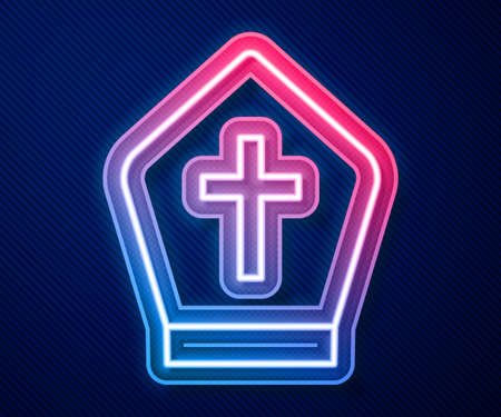 Glowing neon line Pope hat icon isolated on blue background. Christian hat sign. Vector