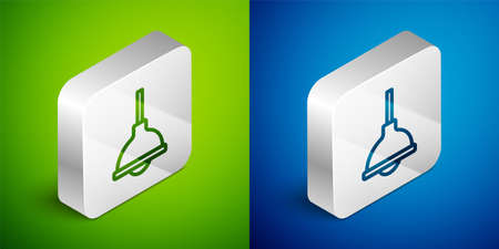 Isometric line Lamp hanging icon isolated on green and blue background. Ceiling lamp light bulb. Silver square button. Vector