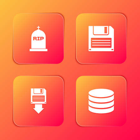 Set Tombstone with RIP written, Floppy disk, backup and Database icon. Vector