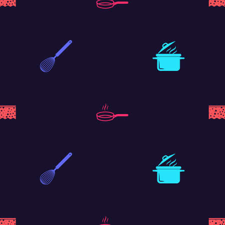 Set Cooking pot, Kitchen whisk, Frying pan and Sponge with bubbles on seamless pattern. Vector